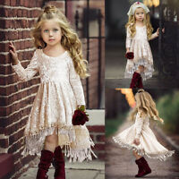 Toddler Baby Girls Long Sleeve Solid Tassel Dress Party Weeding Dresses Clothes