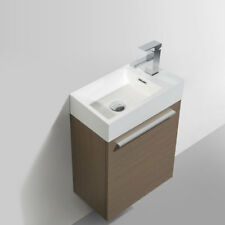 "Dowell 010 18""W Wall Mount Bathroom Vanity&Polymarble Sink set 10""D L.Pine"