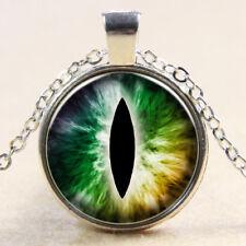 Vintage Cabochon Tibetan Silver green lizard eye Glass Chain Pendant Necklace E