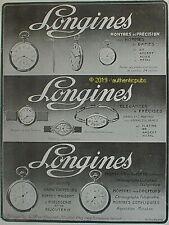 PUBLICITE LONGINES MONTRE DE PRECISION HOMME FEMME SPORT DE 1913 FRENCH AD PUB