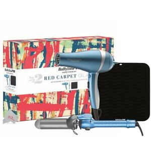 """Babyliss Pro Red Carpet Glam Hair Dryer 1"""" Curling Iron & Silicone Heat Mat"""