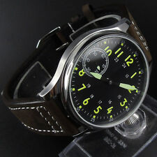 44mm Corgeut Black Dial Luminous hand seagull Hand winding 6497 Movement Watch