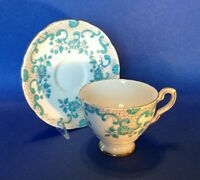 Royal Stafford Pedestal Cup And Saucer - Raised Turquoise Glaze - England
