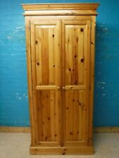 TALL SOLID WOOD CHUNKY DOUBLE 2 DOOR WARDROBE H201 W94cm - VISIT OUR WAREHOUSE