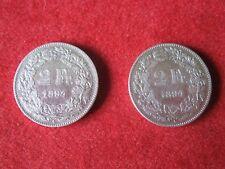 Lot 2 monnaies 2 FRANCS SUISSE 1894 A