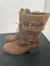 Ladies-Clarks, Light Brown Leather Mid calf length boots Shoes Size-6 1/2