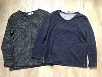 Lot 2 Chico's Size 1 Medium Knit Tops LONG SLEEVE 3/4 HEATHER BLUE BLACK TUNIC