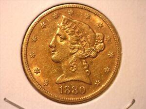 1880-S  $5 Liberty Head Gold Half Eagle #2 - AU++