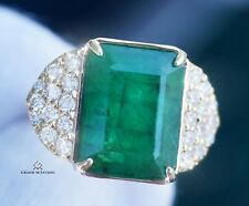 Emerald Gold Ring Diamond Natural 14K Yellow 8.1CTW GIA Certified RETAIL $15,200
