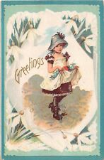 Lovely Snowdrops Around Cute Little Girl Gathering Flowers-Old Greetings PC
