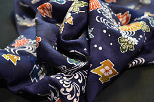 Japanese Silk Fabric  Navy Blue with Blossoms and Temples 1034