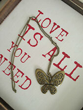 New Bronze vintage stylish Butterfly pendant necklace sweater chain