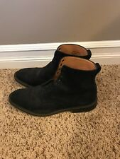 Alfred Sargent Suede Cap Toe Lace Up Boots - Navy - US 10 - EU 43