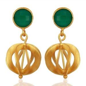 Green Onyx Gemstone 925 Sterling Silver Gold Plated Drop Earrings Jewelry