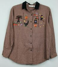 Casual Corner Annex Womens Halloween Embroidered Shirt Large Brown EUC #13280