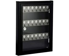 AdirOffice Brass Black Framed Hanging 24 Key Locking Glass Storage Key Cabinet