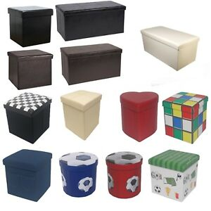 Large New Folding Storage Ottoman Seat Stool Toy Storage Box Faux Leather Pouffe