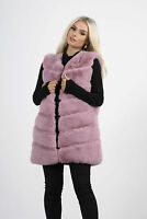 New Women Ladies Dusty Pink Faux Fur Longline Gilet Vest Top Size 8 10 12 14