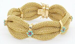 Italian designer heavy vintage 18K YG ruby & turquoise flower mesh bracelet
