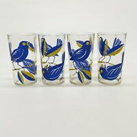 4 Vintage Mid Century Bluebird On Branch Drinking Glass Printed Tumblers 8 oz