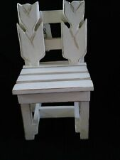 """Beautiful Condition! White Tulip Doll Chair 9"""" tall 5"""" Wide Adorable For Display"""