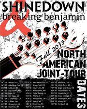 SHINEDOWN / BREAKING BENJAMIN 2015 NORTH AMERICAN JOINT TOUR CONCERT POSTER