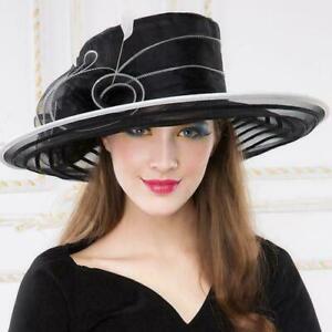 Women's Kentucky Derby Church Wedding Noble Dress hat organza feather hat  MOON