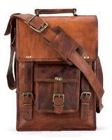 """11""""Vintage Genuine Goat Leather Brown Messenger Satchel Briefcase Laptop Bag New"""