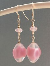 Vintage Pink Frosted Givre Glass & Rose Quartz 14ct Rolled Gold Earrings