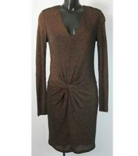 TED BAKER - BROWN METALLIC LINED DRESS - SIZE 3 / UK 12