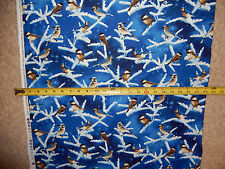 Bluebird Black Cap Chickadee Birds Winter  Colorful C3327 TT cotton fabric NICE