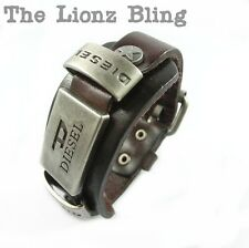 Urban Vintage style DIESEL Men's Genuine Brown Leather Wide Band Bracelet