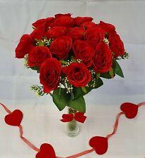 Artificial Red Rose Bouquet Silk Flower 18 Head Wedding Valentines Fern Foliage