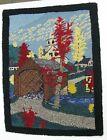 Vintage Hand Hooked Rug New England Theme Covered Bridge Church Fall NH Burlap