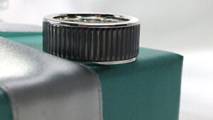 Tiffany & Co. Titanium Coin Edge Midnight Black Ring Sz 6 Sterling Silver 925