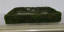 """*TCM110 Green Faux Moss Covered Indoor/Outdoor SHALLOW BASKET 18"""" X 12"""" X 2"""""""