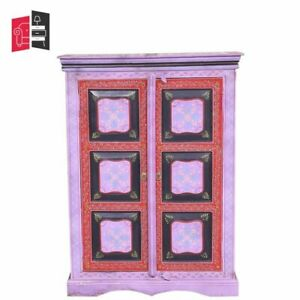 Pandora Hand Painted Indian Solid Wood Cabinet With Shelves (MADE TO ORDER)