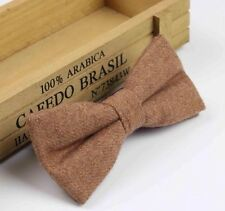 New Country Camel/ Tan/ Brown Tweed Style  bow tie. Matching Items. Uk Seller.