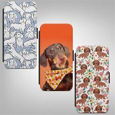 Cute Dachshund Dog Pattern FLIP WALLET PHONE CASE COVER IPHONE SAMSUNG HUAWEI