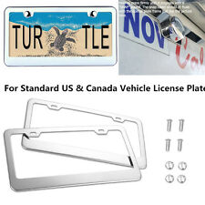 Car License Plate Frame Silver Stainless Steel Mirror Polish Covers w/ Screw&Cap