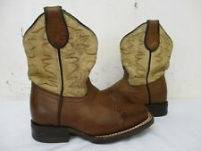 CUATRALBA Brown Leather Square Toe Cowboy Boots Toddler Size 17 Mexico