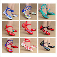 Women Chinese Vintage Embroidered Flower Wedge Ankle Strap Dancing Canvas Shoes