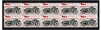 BSA MOTORCYCLES STRIP OF 10 MINT VIGNETTE STAMPS, 1932 S32-8