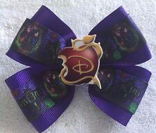 "Girls Hair Bow 4"" Wide The Descendants WW Purple Ribbon Apple French Barrette"