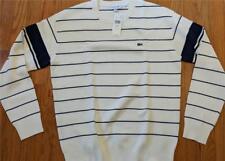 Mens Authentic Lacoste Heritage Striped Sweatshirt Flour/Navy Blue 6 (XL) $185