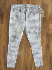 True Religion Halle Moto Skinny Mid Rise Jeans- Gray/White -Size 31- NWT $248