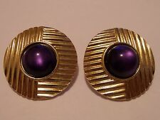 Signed Yves Saint Laurent YSL Purple Stone Gold Tone Clip On Earrings WAS $75