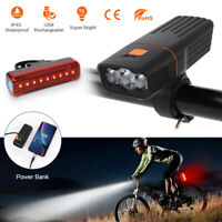 5000LM LED Bicycle Bike Lights USB Rechargeable Headlight Front Rear Tail Lamp