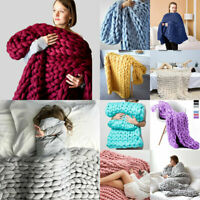 Chunky Knitted Warm Soft Thick Blankets Yarn Wool Bulky Throws Sofa Small/Large