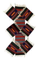 Hand Woven Made Reversible Traditional Table Runner with 6 Place Mats Red Grey